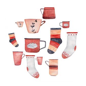 Raccolta dell'illustrazione dell'acquerello delle tazze e dei calzini