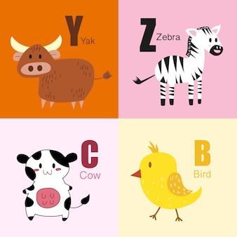 Raccolta dell'illustrazione dell'alfabeto degli animali di y, z, c, b.