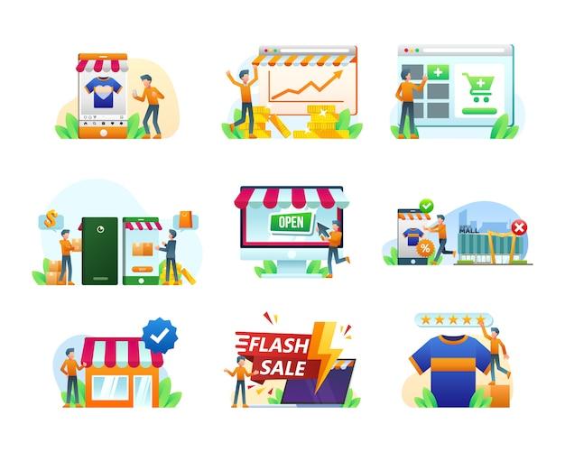 Raccolta dell'illustrazione dell'insegna di commercio elettronico