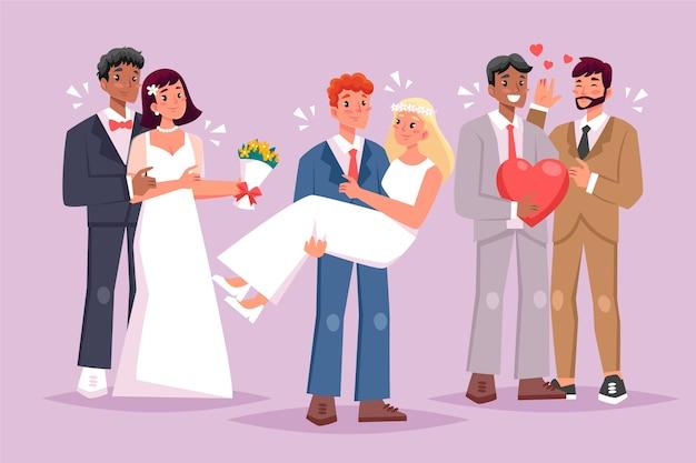 Raccolta dell'illustrazione delle coppie di nozze di progettazione piana