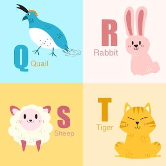Raccolta dell'illustrazione di alfabeto degli animali da q a t.