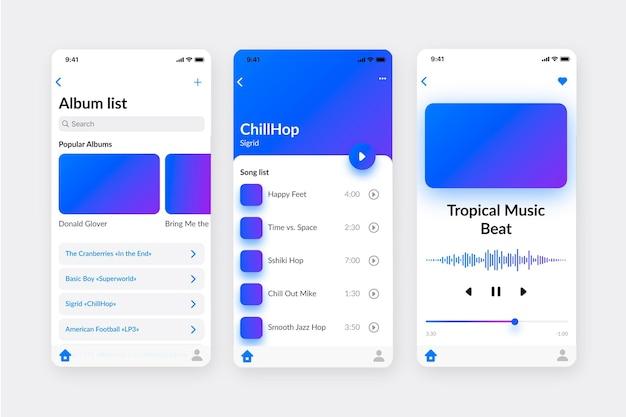 Raccolta dell'interfaccia dell'app del lettore musicale