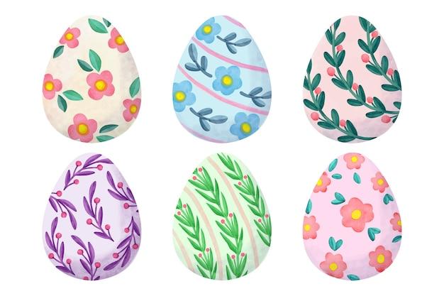 Raccolta dell'uovo di giorno di pasqua di progettazione dell'acquerello
