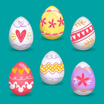 Raccolta dell'uovo di giorno di pasqua nella progettazione piana