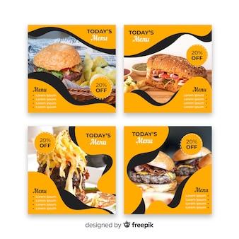 Raccolta della posta del instagram degli hamburger con la foto
