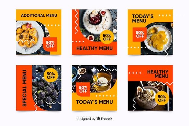 Raccolta della posta del instagram del menu del dessert con la foto