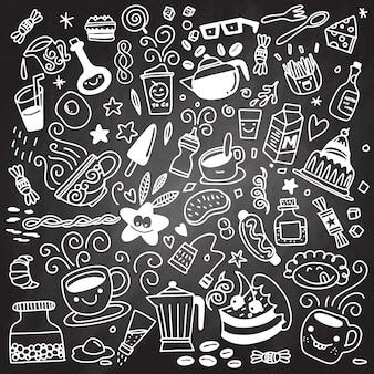 Raccolta della prima colazione disegnata a mano di stile del buffet del profilo, isolat