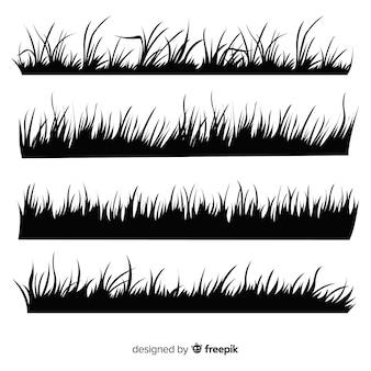 Raccolta della siluetta del confine dell'erba isolata