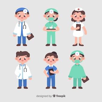Raccolta della squadra infermiera disegnata a mano