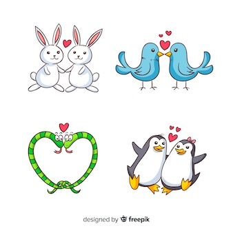 Raccolta delle coppie animali del fumetto di san valentino