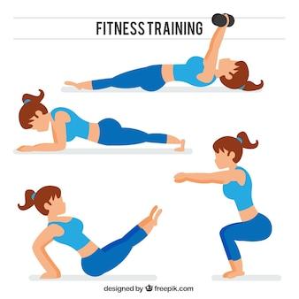 Raccolta delle donne facendo stretching e altri esercizi
