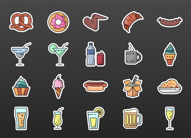 Raccolta delle icone degli autoadesivi dell'alimento colorata con il colpo