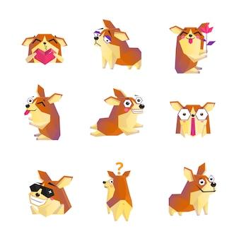 Raccolta delle icone del personaggio dei cartoni animati del cane di corgi