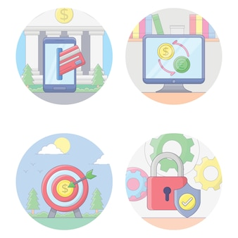 Raccolta delle icone di attività bancarie e finanziarie