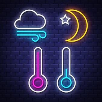 Raccolta delle insegne al neon del tempo. segni meteorologici. insegne al neon.