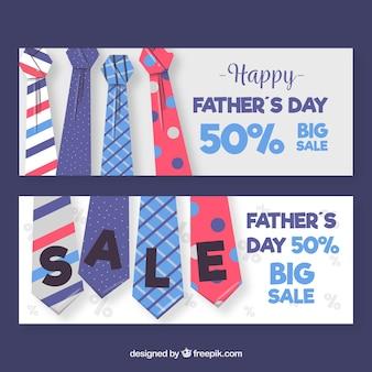 Raccolta delle insegne di vendita di festa del papà con i legami variopinti