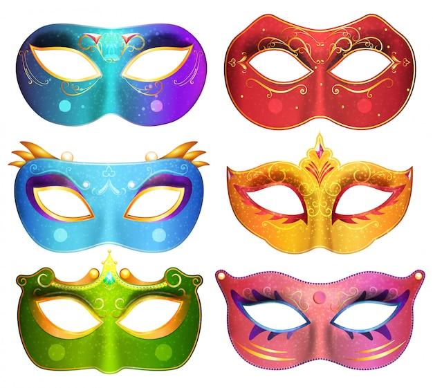 Raccolta delle maschere per l'illustrazione delle maschere di carnevale del partito di travestimento