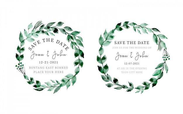 Raccolta delle nozze della corona delle foglie dell'acquerello