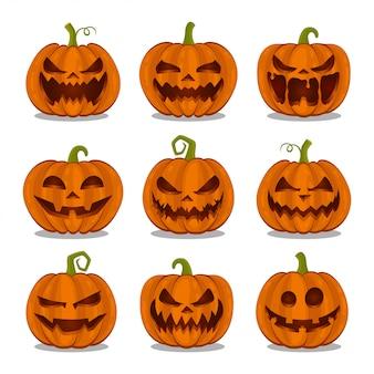 Raccolta delle zucche halloween su fondo bianco