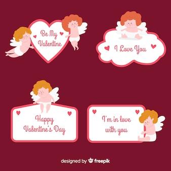 Raccolta di adesivi cupidi di san valentino