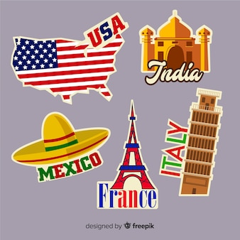 Raccolta di adesivi di paesi di viaggio