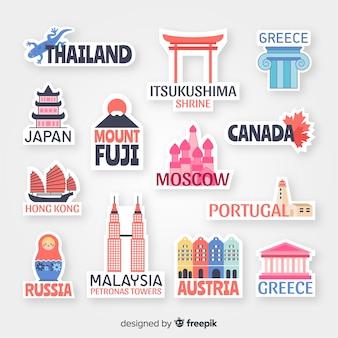 Raccolta di adesivi di paesi