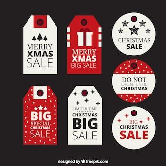 Raccolta di adesivi ed etichette per le vendite di natale