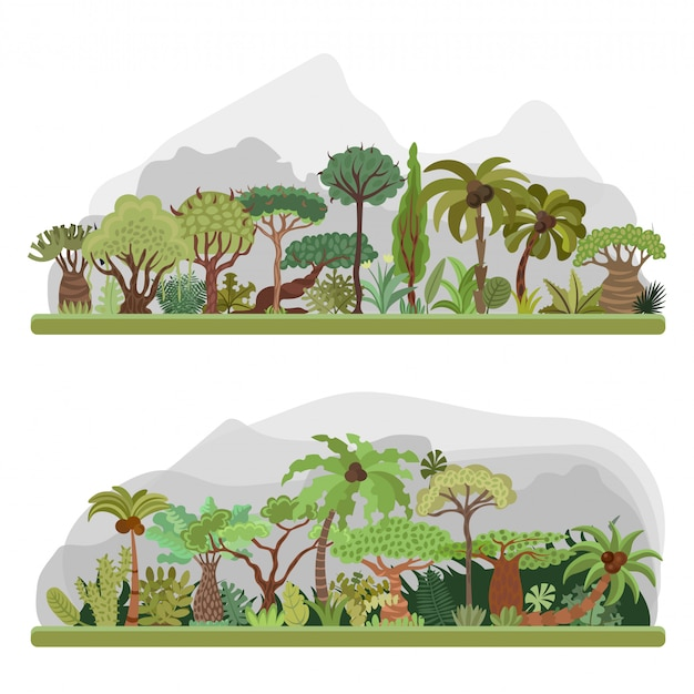 Raccolta di alberi della giungla, illustrazione piatta con palme, foresta pluviale, elementi di giungla tropicale.