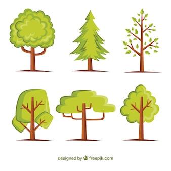 Raccolta di alberi in stile piatto
