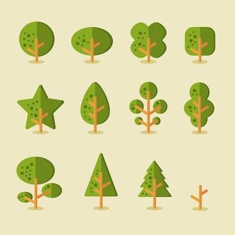 Raccolta di alberi per sfondi di gioco in stile piatto