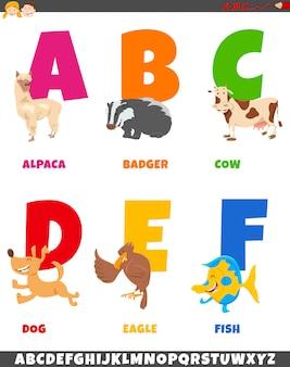 Raccolta di alfabeto del fumetto con personaggi animali