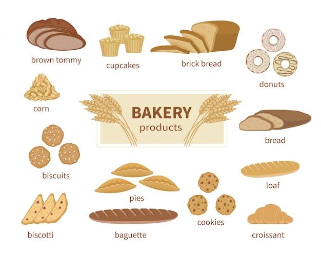 Raccolta di alimenti e elementi del negozio di pagnotta a fette, baguette francese