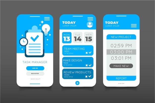 Raccolta di app per la gestione delle attività di design piatto
