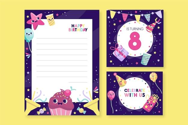 Raccolta di articoli di cartoleria di compleanno