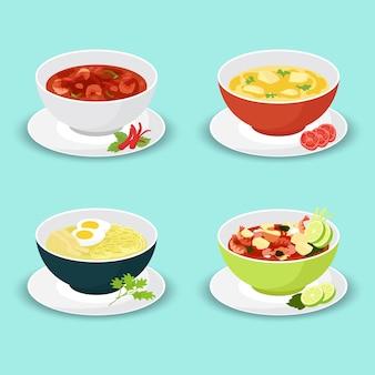 Raccolta di assortimento di zuppe