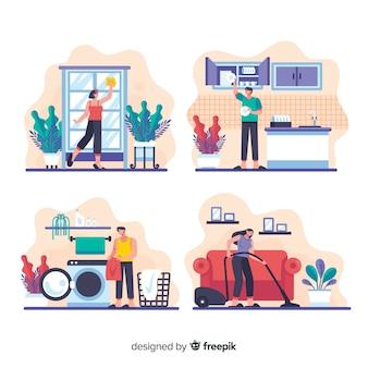 Raccolta di attività per i giovani di lavori domestici