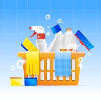 Raccolta di attrezzature per la pulizia delle superfici
