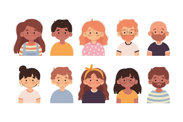 Raccolta di avatar di persone illustrate