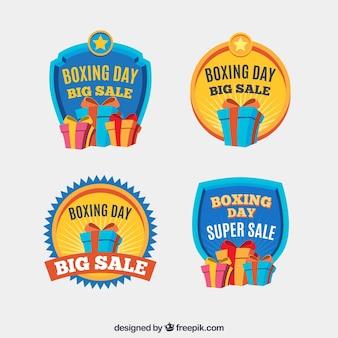 Raccolta di badge giorno di boxe in giallo e blu