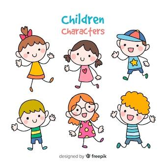 Raccolta di bambini colorati disegnati a mano