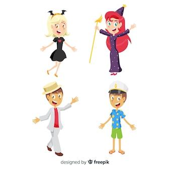 Raccolta di bambini mascherati di carnevale
