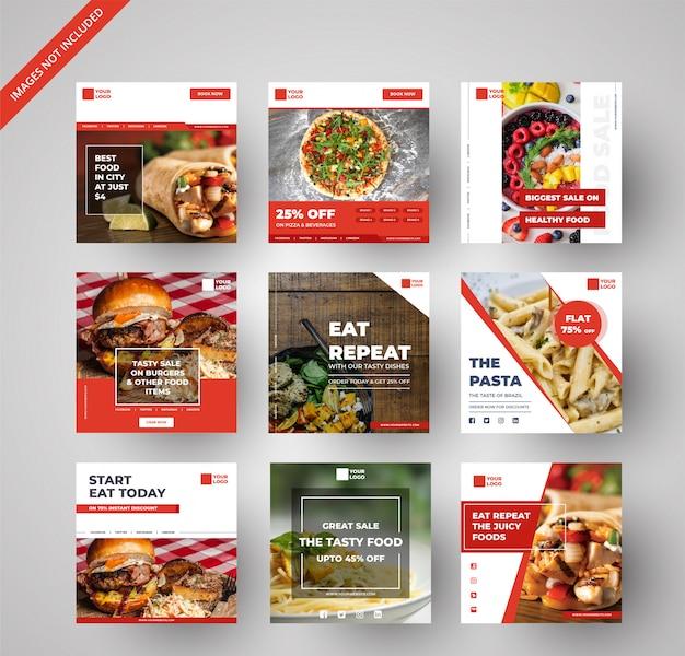 Raccolta di banner cibo e ristorante per il marketing digitale