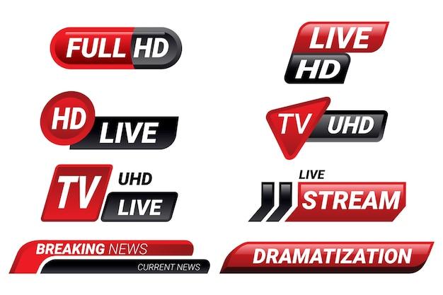 Raccolta di banner di notizie in diretta streaming