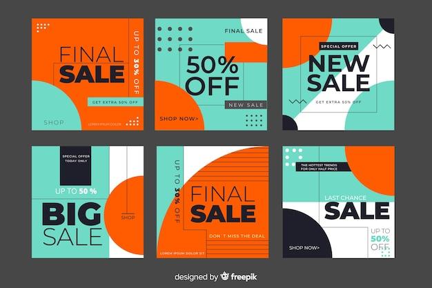 Raccolta di banner di promozione di vendita per i social media