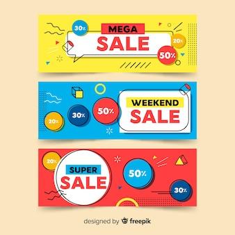 Raccolta di banner di vendita di memphis