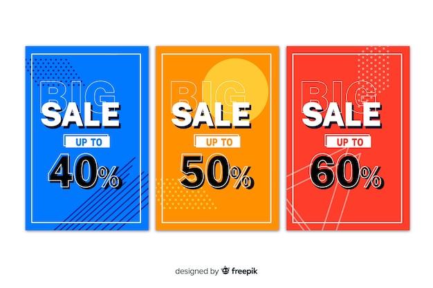 Raccolta di banner di vendita in stile memphis