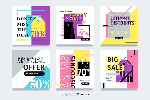 Raccolta di banner di vendita moderna per i social media
