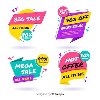 Raccolta di banner di vendita origami colorati