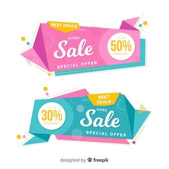 Raccolta di banner di vendita origami