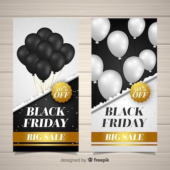 Raccolta di banner di vendita venerdì con palloncini